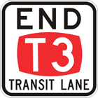 End T3 transit lane sign