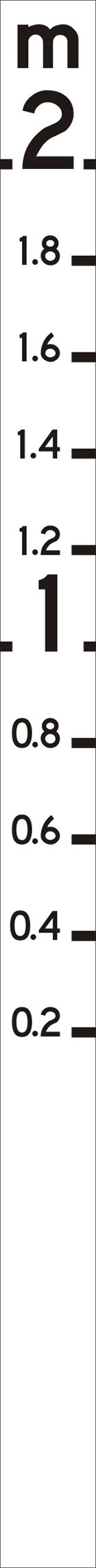 long, thin, white sign with black m at the top and numbered measurements marked down the side