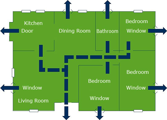 house-floor-with-two-escape-route Emergency Exit Plans House on safety plan, evacuation plan, emergency power plan, emergency evacuation, emergency transfer plan, floor plan, emergency search plan,