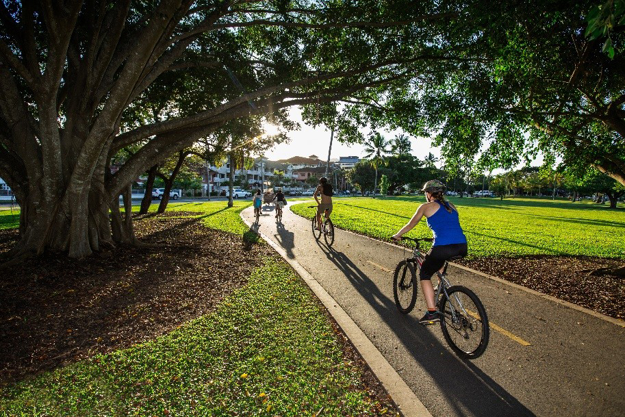 The most common reasons Queensland adults cycle are: for exercise and fitness, just for fun and for travel to work (Department of Transport and Main Roads. 2016. Results of Queensland Cycling Strategy community consultation. Brisbane).