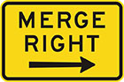 yellow sign with black arrow and text, merge right