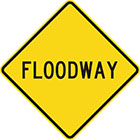 yellow diamond-shaped sign with black text, floodway