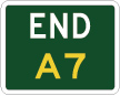 green sign with the word end in white and A7 in yellow