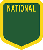 Green shield-shaped sign with the word national in yellow and blank space for a number