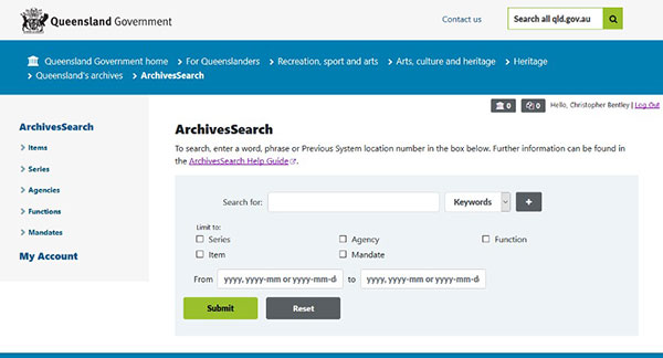 Example of the interface for 'ArchivesSearch', the online archive catalogue