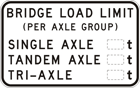 Example black text on white sign: Bridge load limit (per axle group) Single axle, Tandem axle, Tri-axle