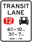 T2 transit lane restriction sign
