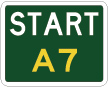 green sign with the word start in white and A7 in yellow