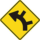 yellow diamond-shaped sign with black arrow that curves steadily left with 2 lines branching off the outside of the curve