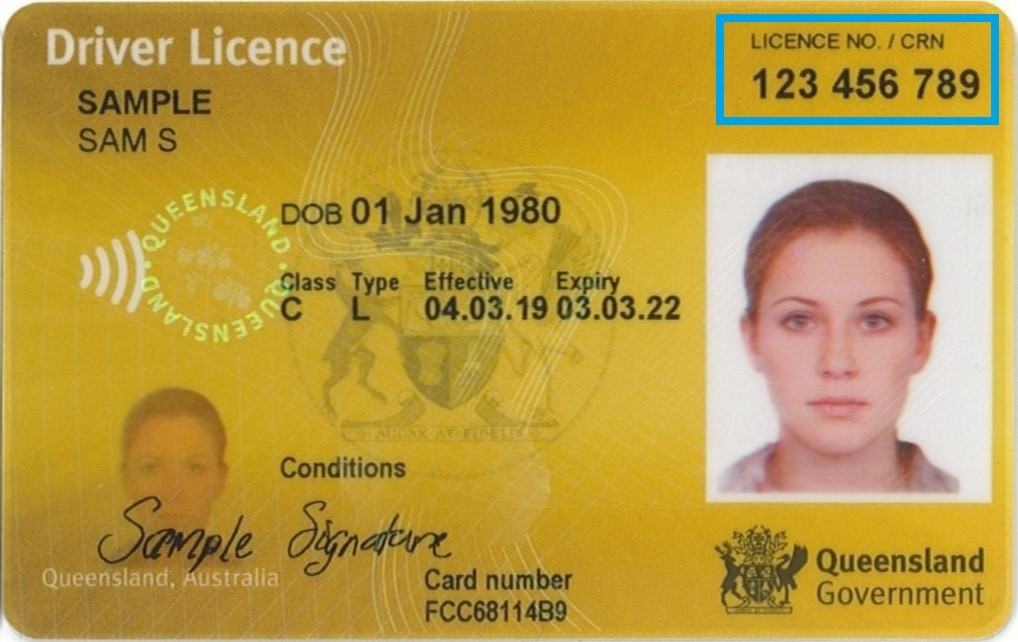 Queensland drivers' licence indicating placement of customer reference number