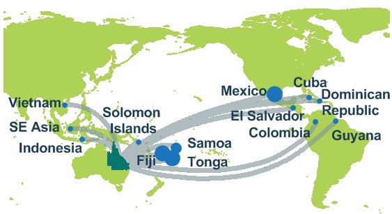 Map showing countries where people have contracted Zika virus and then returned to Queensland