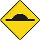 yellow diamond-shaped sign with black horizontal line that has a semi-circular bump on top