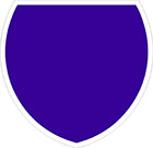 blue shield-shaped sign with white border and blank space for a number