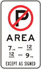 No parking area sign