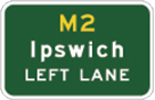 green sign with yellow M2 and white text, Ipswich left lane