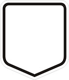 white shield-shaped sign with a black border and blank space for a number