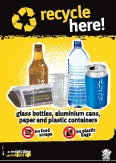 Imagery: Glass beer bottle, newspaper, plastic cup, plastic bottle, aluminium can, plastic containers