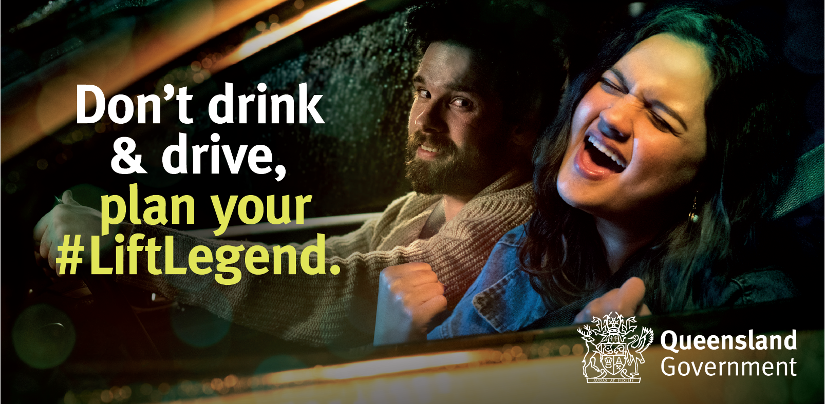 people in car with text Don't drink and drive, plan your lift legend