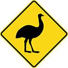 yellow diamond-shaped sign with black emu icon