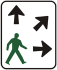 Pedestrians may cross diagonally sign