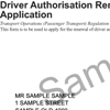 Sample driver authorisation renewal notice showing the customer reference number
