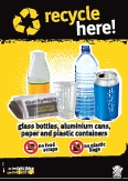 Imagery: Glass juice bottle, newspaper, plastic cup, plastic bottle, aluminium can, plastic containers
