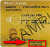 Sample driver licence showing the card number on front
