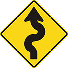 yellow diamond-shaped sign with black arrow with 2 rounded curves in the tail