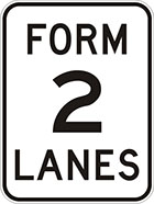 white sign with black text, form 2 lanes