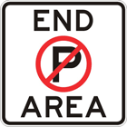 End no parking area sign