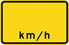 yellow sign with space for a number and black letters, km/h