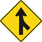 yellow diamond-shaped sign with black arrow pointing upward with a brach joining the tail from the bottom-right