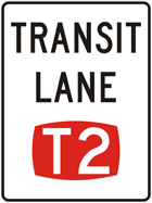 T2 transit lane sign