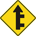 yellow diamond-shaped sign with straight black arrow with 2 branches off the right of the tail