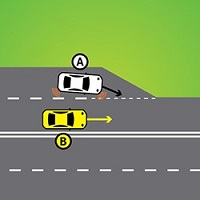A car in a lane with a line at the end of the lane gives way to a car that is in the lane it is moving into.