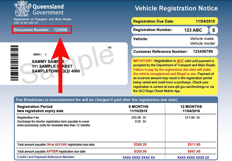 Sample vehicle registration notice (issued before 30 November 2018)