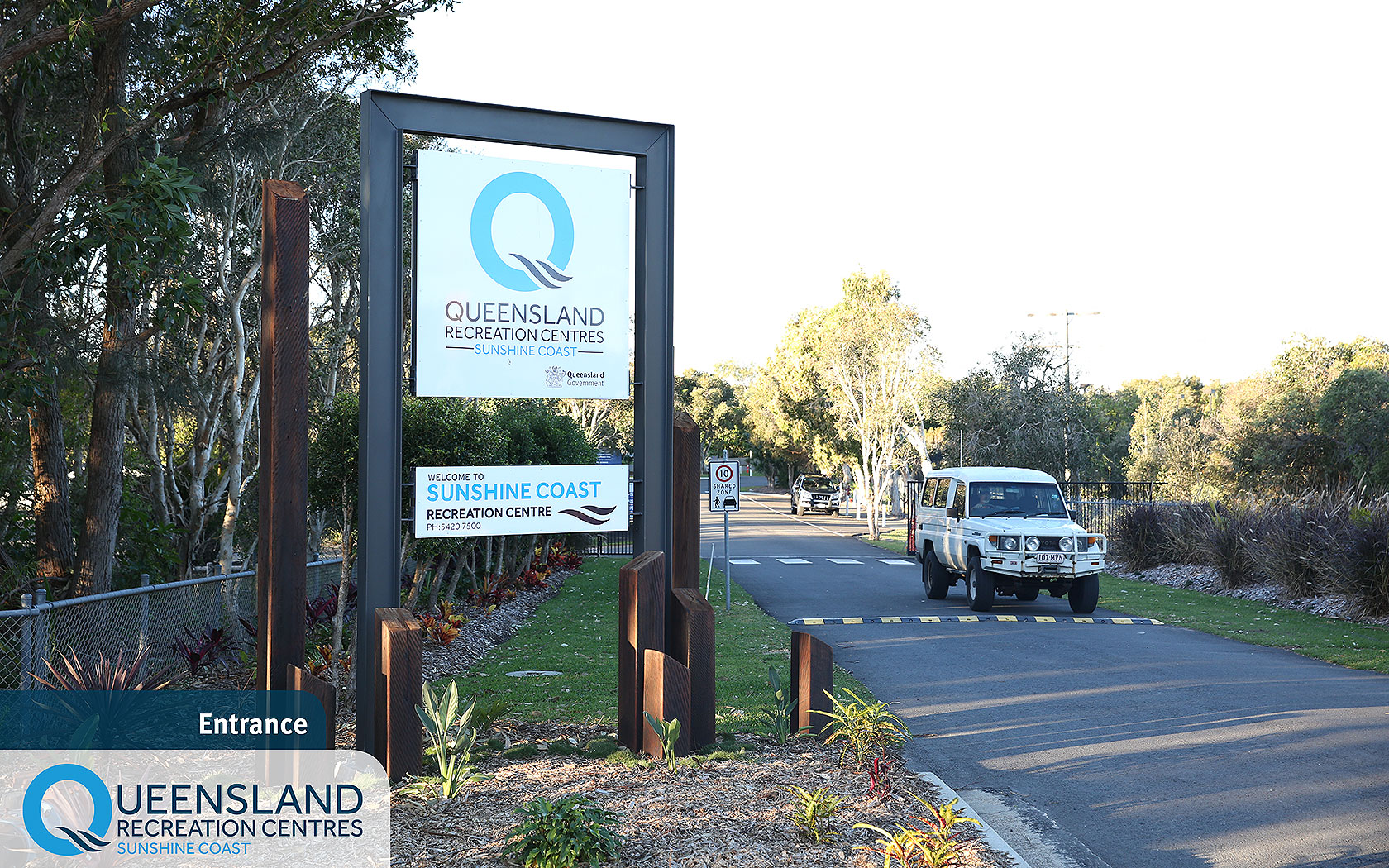 Welcome signs and main Currimundi Road vehicle entrance to the Sunshine Coast Recreation Centre