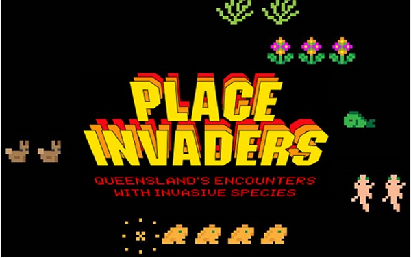 retro computer game screen featuring the words 'Place invaders