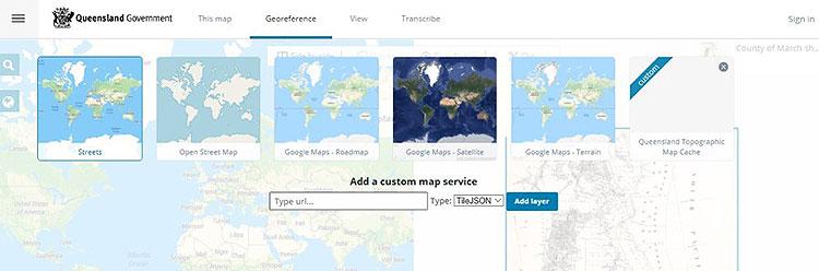 Screenshot showing georeferencing software
