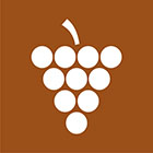 brown sign with white grapes icon
