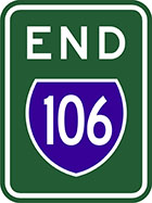 green sign with the word end in white and a blue shield with the number 106