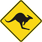 yellow diamond-shaped sign with black kangaroo icon