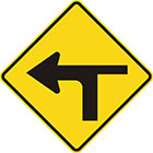 yellow diamond-shaped sign with black arrow that curves sharply left with a thinner line branching to the right