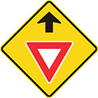 yellow diamond-shaped sign with black arrow and white triangle with thick red border