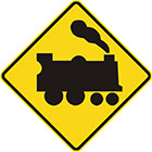 yellow diamond-shaped sign with black train icon