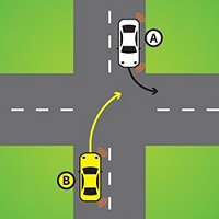 Giving way when turning right across the path of another car turning left