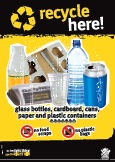 Imagery: Glass juice bottle, cardboard tray, newspaper, plastic cup, plastic bottle, aluminium can, plastic containers 1-7