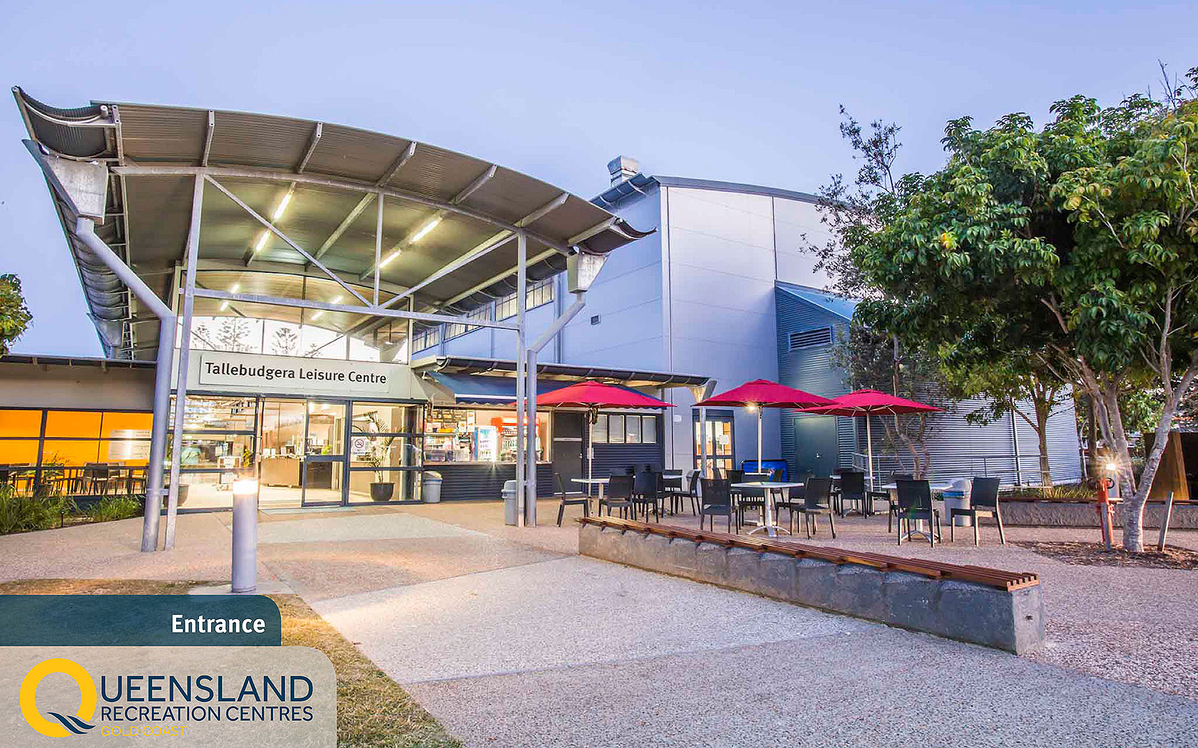 Entrance and Tallabudgera Leisure Centre reception with café and outdoor dining area at the Gold Coast Recreation Centre