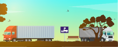 Graphic of 2 heavy vehicles at rest area for heavy vehicles only