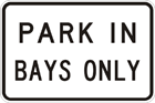 Park in bays only sign